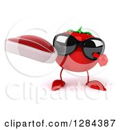 Clipart Of A 3d Tomato Character Wearing Sunglasses Holding And Pointing To A Beef Steak Royalty Free Illustration