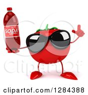 Clipart Of A 3d Tomato Character Wearing Sunglasses Holding Up A Finger And A Soda Bottle Royalty Free Illustration