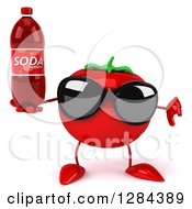 Clipart Of A 3d Tomato Character Wearing Sunglasses Holding A Thumb Down And A Soda Bottle Royalty Free Illustration