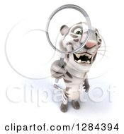 Clipart Of A 3d White Tiger Looking Up Through A Manifying Glass Royalty Free Illustration