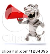 Clipart Of A 3d White Tiger Roaring Running To The Left And Using A Megaphone Royalty Free Illustration