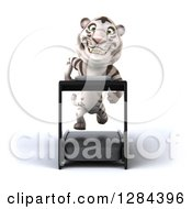 Clipart Of A 3d White Tiger Running On A Treadmill Royalty Free Illustration