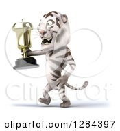 Clipart Of A 3d White Tiger Walking To The Left And Holding A Trophy Royalty Free Illustration