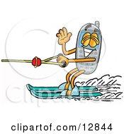 Wireless Cellular Telephone Mascot Cartoon Character Waving While Water Skiing