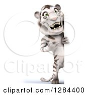 Clipart Of A 3d Full Length White Tiger Pointing Around A Sign Royalty Free Illustration