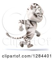 Clipart Of A 3d White Tiger Running To The Right Royalty Free Illustration