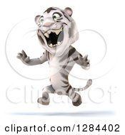 Clipart Of A 3d White Tiger Roaring And Running To The Left Royalty Free Illustration