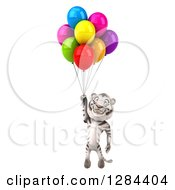 Clipart Of A 3d White Tiger Floating With Party Balloons Royalty Free Illustration