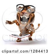 Clipart Of A 3d Bespectacled Tiger Roaring And Reading A Book Royalty Free Illustration
