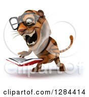 Clipart Of A 3d Bespectacled Tiger Facing Slightly Left Roaring And Reading A Book Royalty Free Illustration