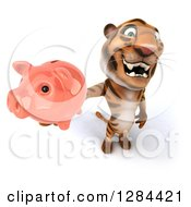 Clipart Of A 3d Tiger Holding Up A Piggy Bank Royalty Free Illustration