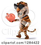Clipart Of A 3d Tiger Wearing Sunglasses Facing Left Walking And Holding A Piggy Bank Royalty Free Illustration