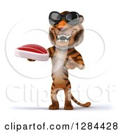 Clipart Of A 3d Tiger Wearing Sunglasses And Presenting A Beef Steak Royalty Free Illustration