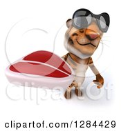 Clipart Of A 3d Tiger Wearing Sunglasses And Holding Up A Beef Steak Royalty Free Illustration