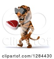 Clipart Of A 3d Tiger Wearing Sunglasses Facing Left Walking And Holding Up A Beef Steak Royalty Free Illustration