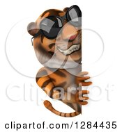 Clipart Of A 3d Tiger Wearing Sunglasses And Looking Around A Sign Royalty Free Illustration