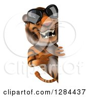 Clipart Of A 3d Tiger Wearing Sunglasses And Pointing Around A Sign Board Royalty Free Illustration