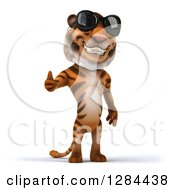 Clipart Of A 3d Tiger Wearing Sunglasses And Holding A Thumb Up Royalty Free Illustration