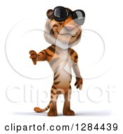 Clipart Of A 3d Tiger Wearing Sunglasses And Holding A Thumb Down Royalty Free Illustration
