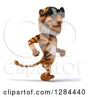 Clipart Of A 3d Tiger Wearing Sunglasses And Walking To The Right Royalty Free Illustration
