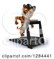 Clipart Of A 3d Tiger Wearing Sunglasses And Running On A Treadmill Royalty Free Illustration