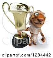 Clipart Of A 3d Tiger Holding Up A Trophy Royalty Free Illustration
