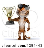 Clipart Of A 3d Tiger Wearing Sunglasses And Holding A Trophy Royalty Free Illustration