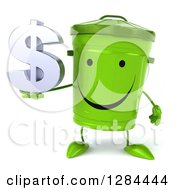 Clipart Of A 3d Happy Recycle Bin Character Holding A Dollar Currency Symbol Royalty Free Illustration
