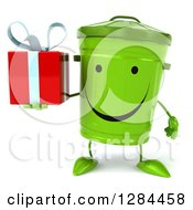 Clipart Of A 3d Happy Recycle Bin Character Holding A Gift Royalty Free Illustration
