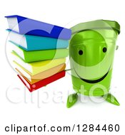 Clipart Of A 3d Happy Recycle Bin Character Holding Up A Stack Of Books Royalty Free Illustration