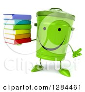 Clipart Of A 3d Happy Recycle Bin Character Shrugging And Holding A Stack Of Books Royalty Free Illustration
