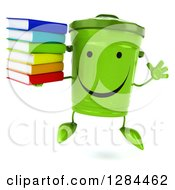 Clipart Of A 3d Happy Recycle Bin Character Jumping And Holding A Stack Of Books Royalty Free Illustration