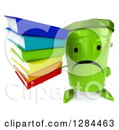 Clipart Of A 3d Unhappy Recycle Bin Character Holding Up A Stack Of Books Royalty Free Illustration