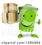 Clipart Of A 3d Happy Recycle Bin Character Holding A Thumb Up And Boxes Royalty Free Illustration