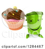 Clipart Of A 3d Happy Recycle Bin Character Holding Up A Chocolate Frosted Cupcake Royalty Free Illustration
