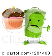 Clipart Of A 3d Unhappy Recycle Bin Character Holding A Thumb Down And A Chocolate Frosted Cupcake Royalty Free Illustration by Julos