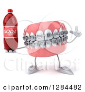 Clipart Of A 3d Metal Mouth Teeth Mascot With Braces Holding Up A Finger And A Soda Bottle Royalty Free Illustration