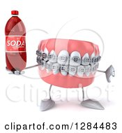 Clipart Of A 3d Metal Mouth Teeth Mascot With Braces Holding A Soda Bottle And Thumb Down Royalty Free Illustration