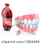 Clipart Of A 3d Dentures Teeth Character Holding Up A Soda Bottle Royalty Free Illustration