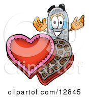 Wireless Cellular Telephone Mascot Cartoon Character With An Open Box Of Valentines Day Chocolate Candies