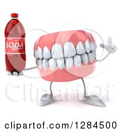 Clipart Of A 3d Dentures Teeth Character Holding Up A Finger And A Soda Bottle Royalty Free Illustration