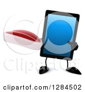 Clipart Of A 3d Tablet Computer Character Holding And Pointing To A Beef Steak Royalty Free Illustration