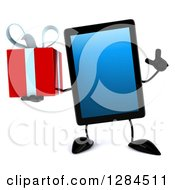 Clipart Of A 3d Tablet Computer Character Holding A Gift And Finger Up Royalty Free Illustration by Julos