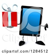 Clipart Of A 3d Tablet Computer Character Holding A Gift And Thumb Down Royalty Free Illustration by Julos
