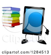 Clipart Of A 3d Tablet Computer Character Holding A Stack Of Books Royalty Free Illustration