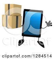 Clipart Of A 3d Tablet Computer Character Jumping And Holding Boxes Royalty Free Illustration