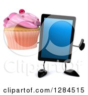 Clipart Of A 3d Tablet Computer Character Holding A Thumb Up And A Pink Frosted Cupcake Royalty Free Illustration by Julos