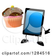 Clipart Of A 3d Tablet Computer Character Shrugging And Holding A Chocolate Frosted Cupcake Royalty Free Illustration by Julos