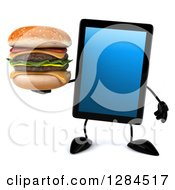 Clipart Of A 3d Tablet Computer Character Holding A Double Cheeseburger Royalty Free Illustration by Julos
