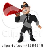Clipart Of A 3d Macho White Businessman Wearing Sunglasses And Announcing With A Megaphone Royalty Free Illustration
